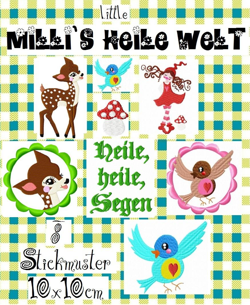 ♥little MILLIs HEILE Welt♥ Stickmuster 10x10cm