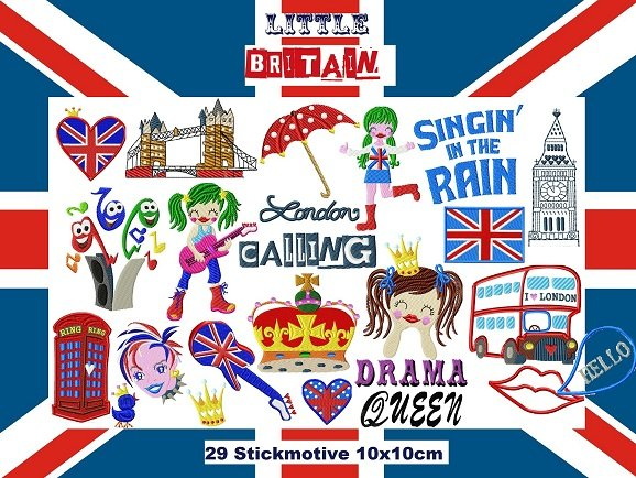♥little BRITAIN♥<br>LONDON Stickmuster 10x10cm