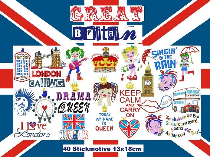 ♥GREAT Britain♥ LONDON Stickdatei 13x18cm XXL