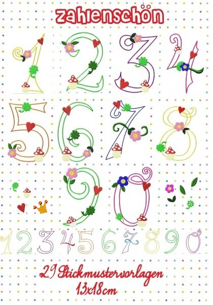 ♥BIG NUMBERS♥Embroidery FILE-Set 13x18cm