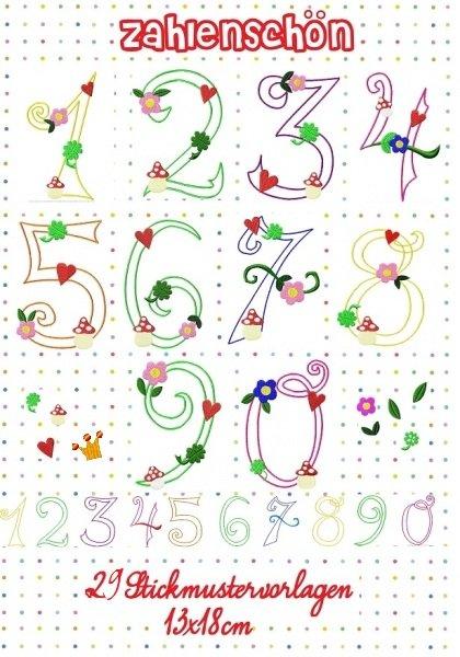 ♥ZAHLENSCHÖN♥ Stickdatei NUMMERN Zahlen 13x18cm APPLI