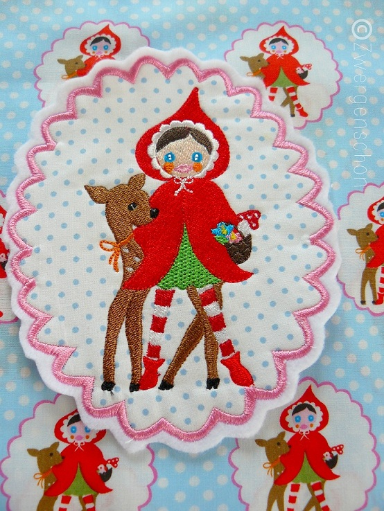 ♥LITTLE RED♥ FabricSTAR Bella STICKMOTIV 13x18cm