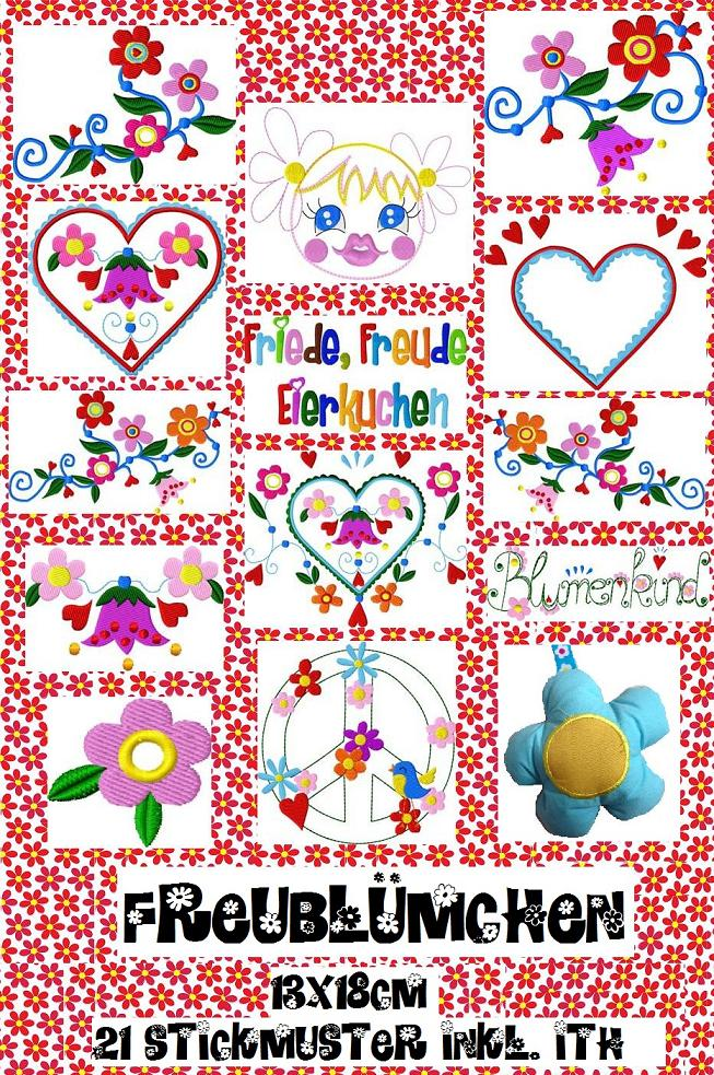 ♥HAPPY FLOWERS♥ Love&Peace EMBROIDERY file set 13x18