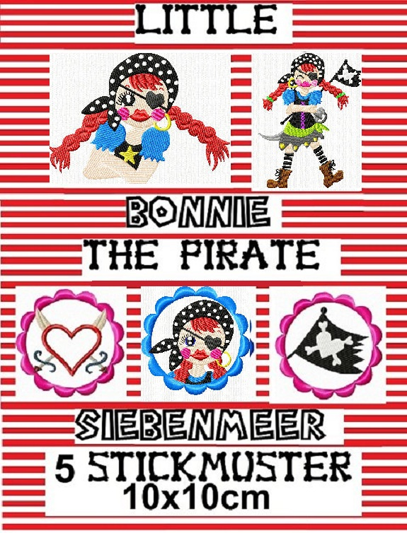♥little BONNIE the pirate SIEBENMEER♥ Stickmuster 10x10cm
