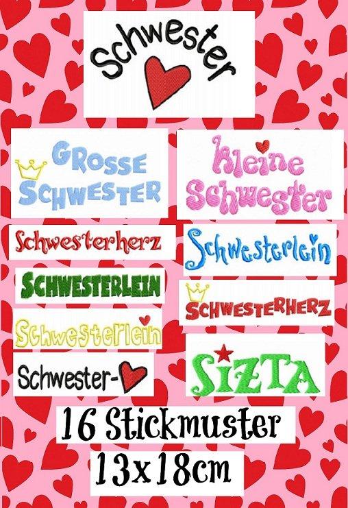 ♥SCHWESTERHERZ♥ Stickmuster SCHRIFTEN 13x18cm