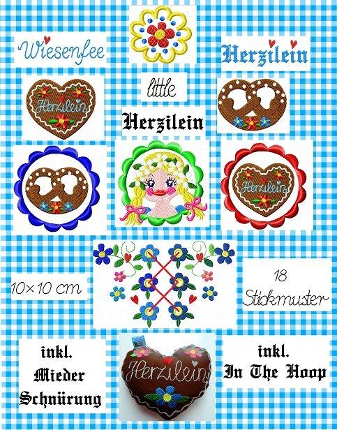♥little HERZILEIN♥ Bavarian FOLK embroidery-file SET 10x10cm