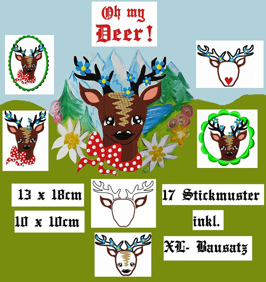 ♥Oh my DEER♥ Embroidery FILE 13x18cm