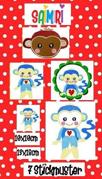 ♥SAIMIRI♥ Blue MONKEY Embroidery-FILE