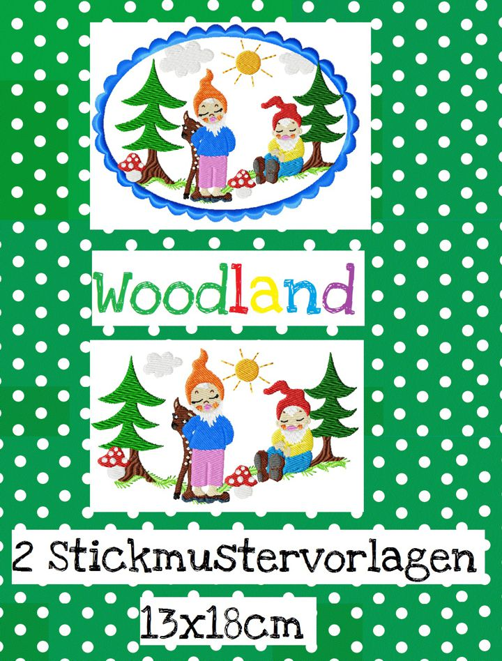 ♥WOODLAND♥ Embroidery FILE Dwarf GNOME 13x18cm