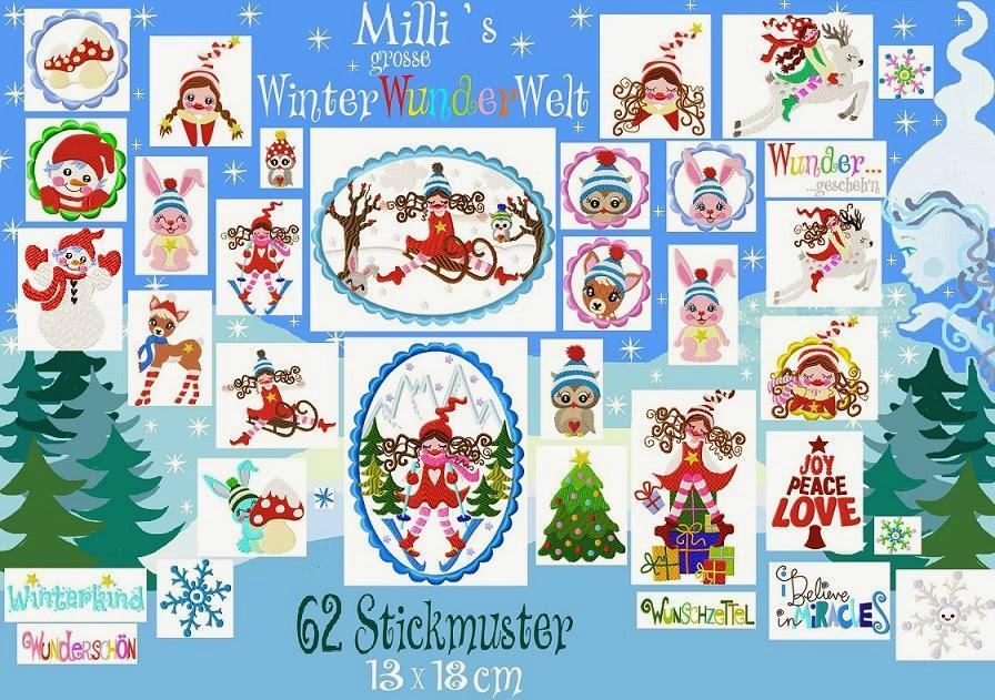 ♥MILLI`s grosse WINTERwunderWELT♥ XXXL Stickmuster 13x18cm