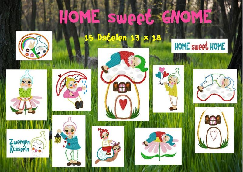 ♥HOME SWEET GNOME♥ Embroidery FILE Set 13x18cm