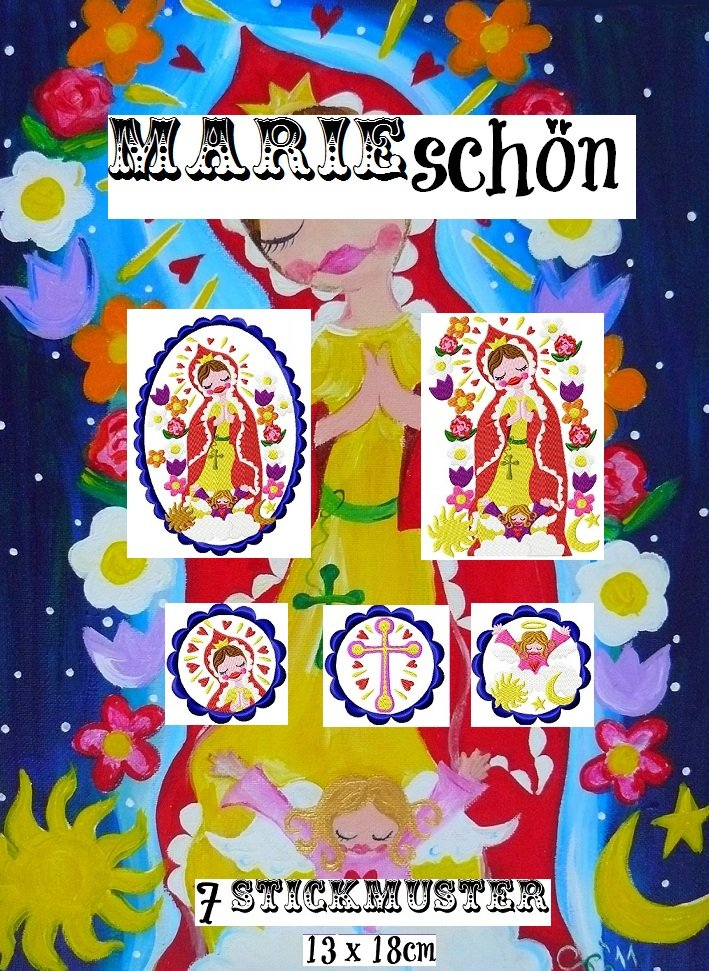♥MARIE SCHoeN♥ MADONNA Embroidery-FILE-SET SWEET 13x18cm LOVE
