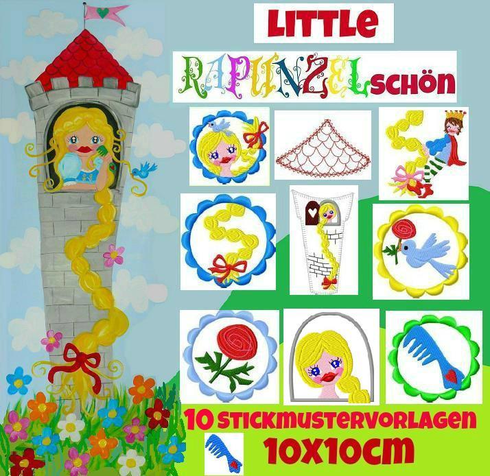 ♥little RAPUNZELschoen♥ EMBROIDERY FILE-SET 10x10cm