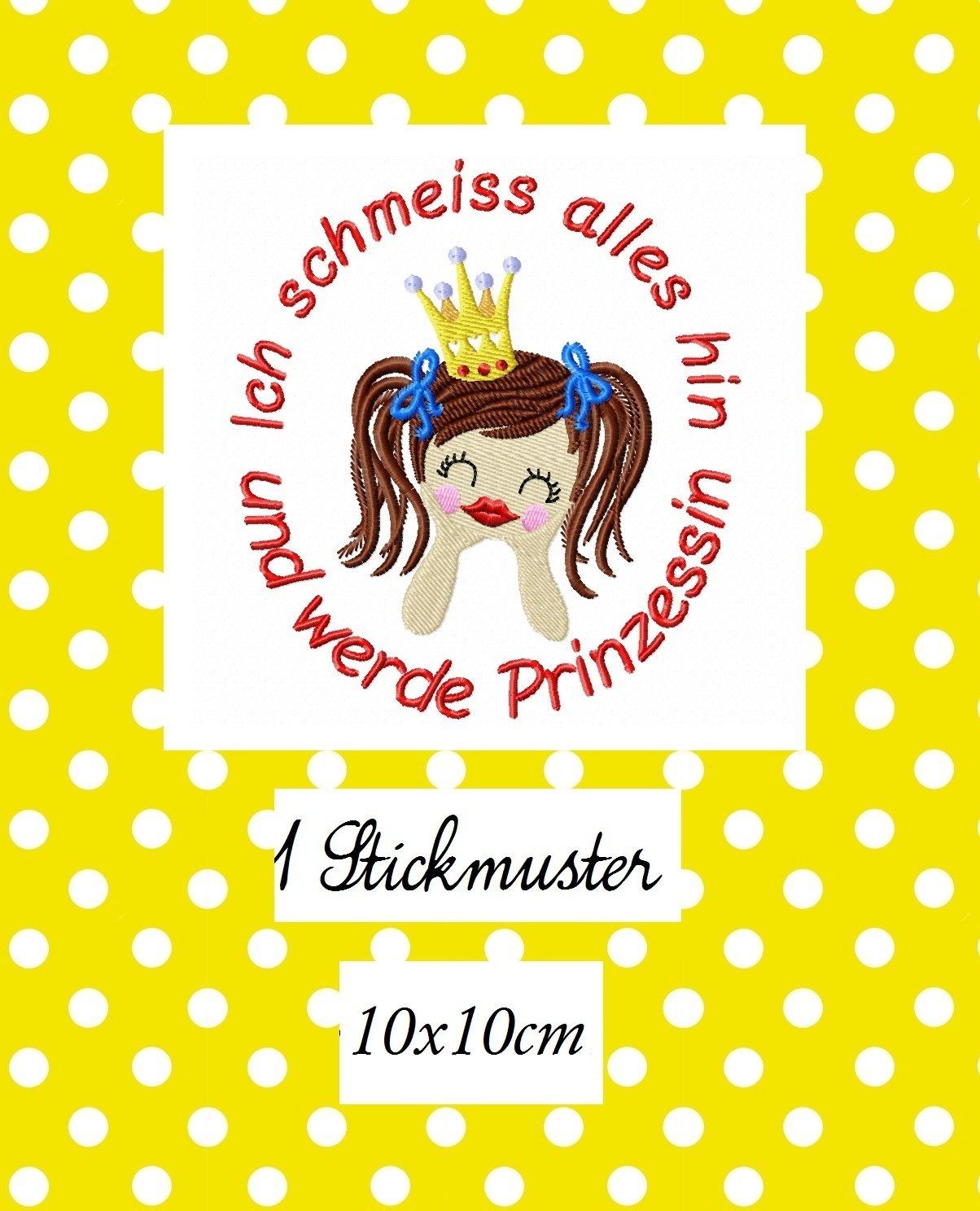 ♥Ich schmeiss alles hin und werde Prinzessin♥ STICKMUSTER 10x10cm