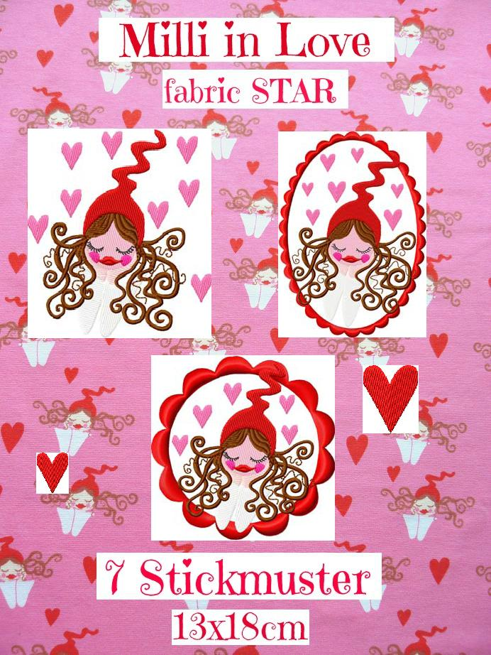 ♥MILLI in LOVE♥ the FABRIC Star STICKMUSTER 13x18cm
