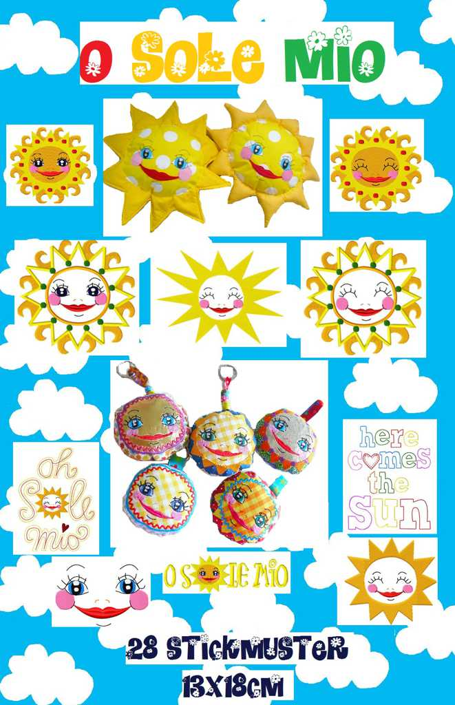 ♥O SOLE MIO♥ SUNNY Embroidery-FILE-SET 13x18cm ITH Special
