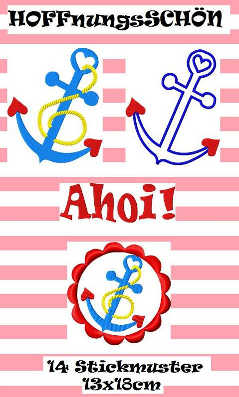 ♥HOPEful♥ ANCHOR Embroidery FILE-SET 13x18cm