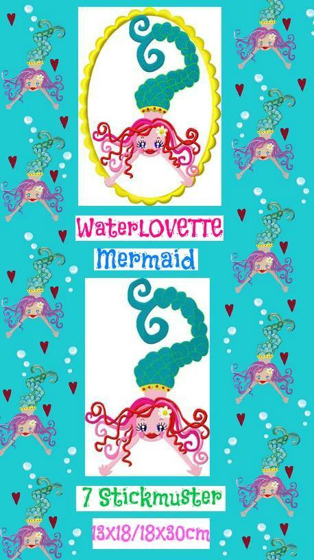 ♥WATERLOVEtte♥ Mermaid NIXE Einzelmotiv 7Stickmuster 13x18 18x30cm