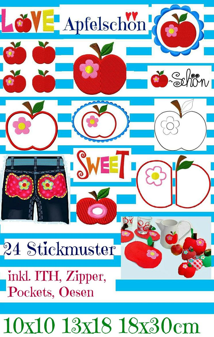 ♥APFELschoen♥ APPLE Embroidery-File SET 10x10, 13x18, 18x30cm