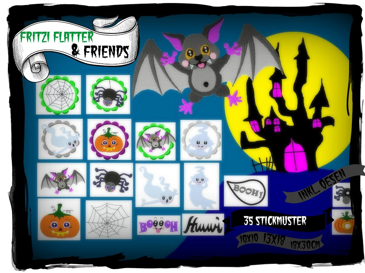 ♥FRITZI FLATTER&Friends♥ Embroidery-File SET Helloween