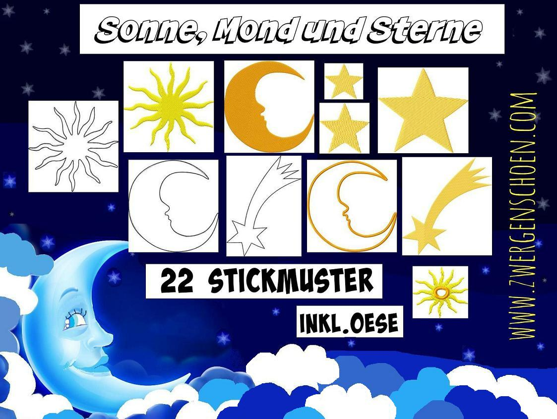 ♥SUN MOON and STARS♥ Embroidery-File SET of 22Designs
