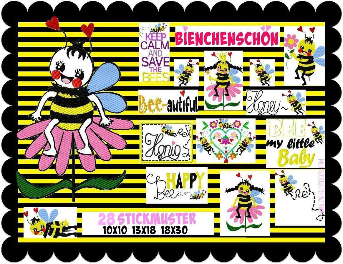 ♥QUEEN of BEES♥ Embroidery-File-Set 13x18 18x30 10x10 BieNCHENSCHoeN