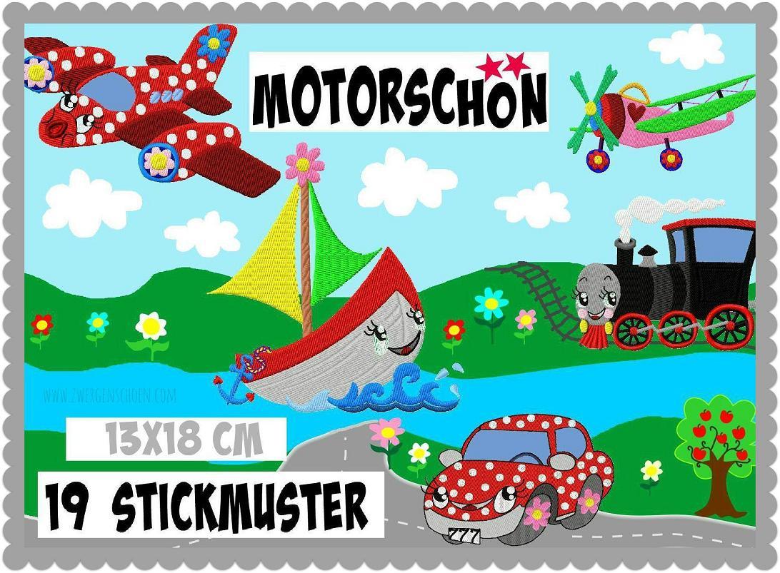 ♥MOTORSCHoeN♥ Embroidery-File SET Sweet CAR TRAIN PLANE BOAT