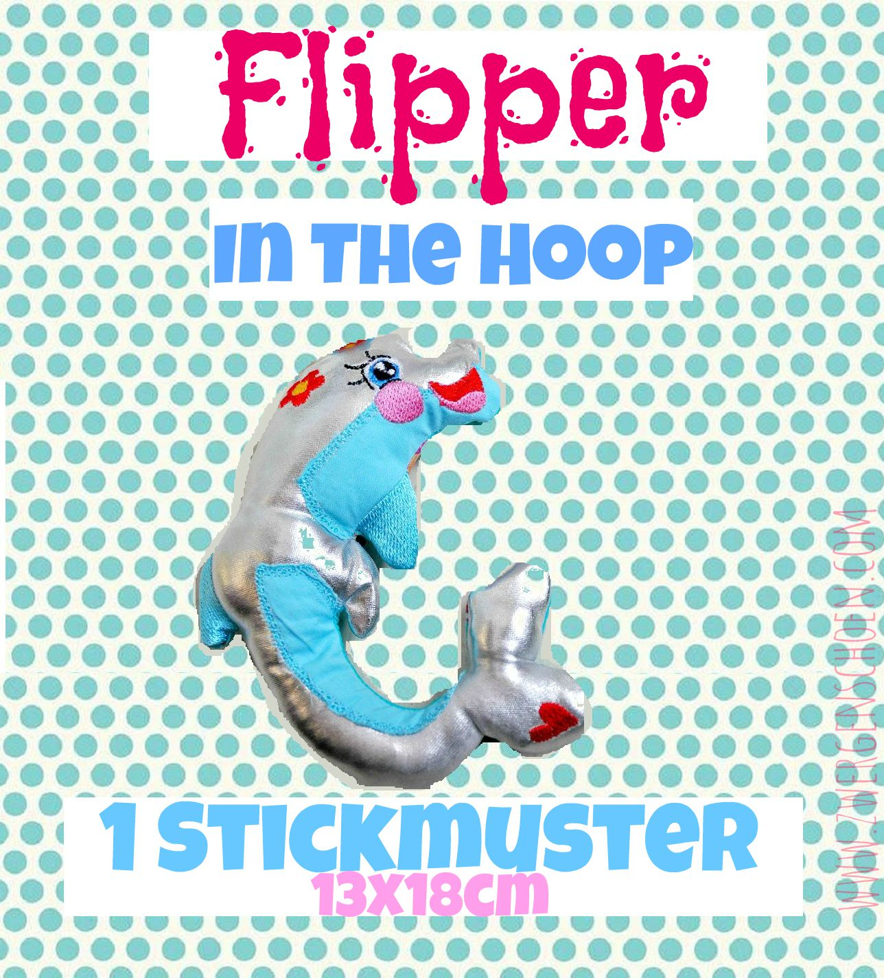 ♥FLIPPER♥ Delphin ITH In The Hoop 13x18cm