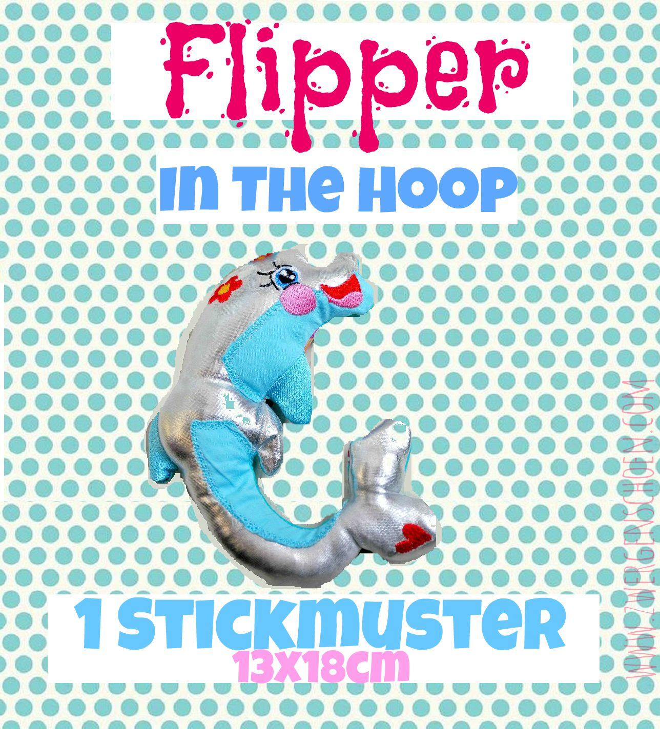 ♥FLIPPER♥ Delphin ITH In The Hoop 13x18cm