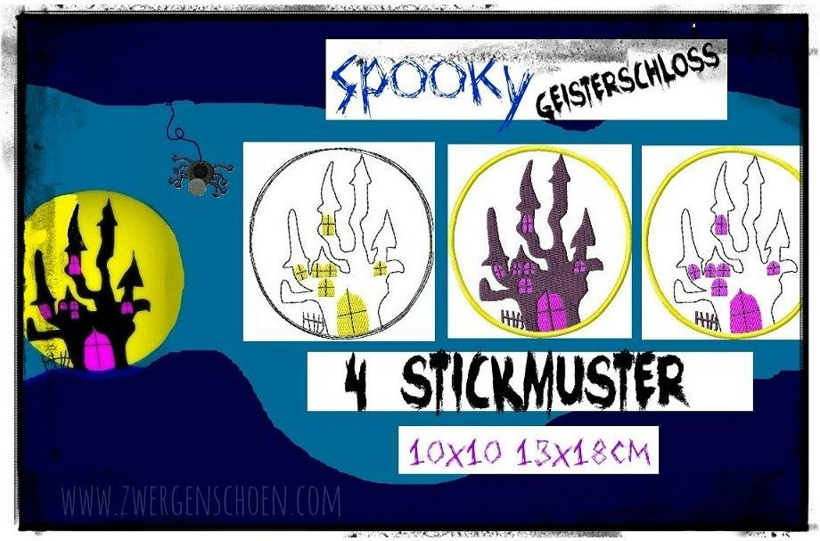 ♥SPOOKY SCHLOSS♥ Spukschloss STICKMUSTER 10x10 13x18cm