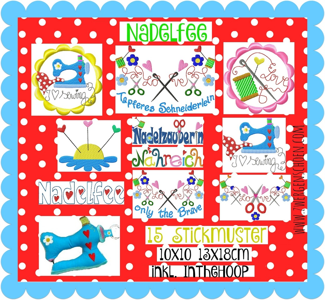 ♥NADELFEE♥ Fairy SEWING Buttons, LETTERS Embroidery-FILE