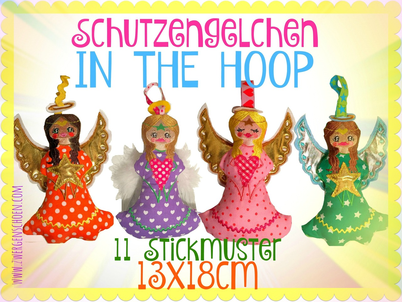 ♥ANGELS♥ ITH Embroidery FILE Set 13x18cm IN THE HOOP