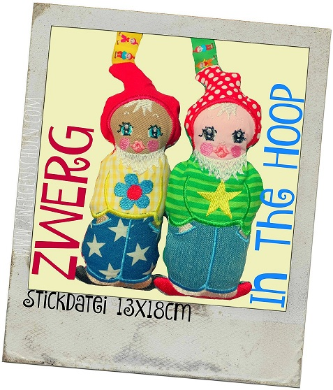 ♥ZWERG♥ Stickmuster ITH 13x18cm In The HOOP