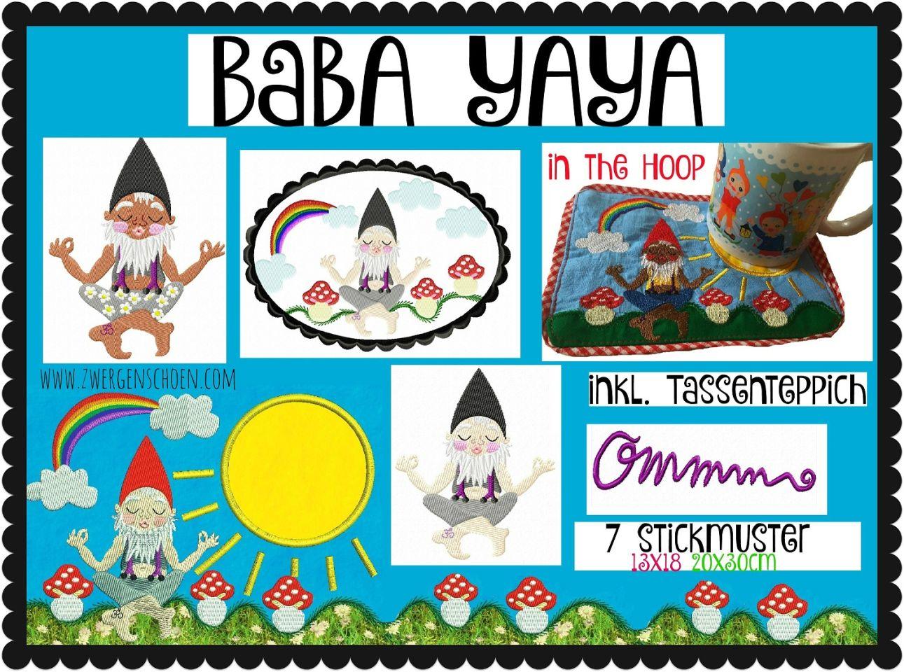 ♥BABA YAYA♥ Stickmuster ZWERg Guru GNOME (inkl. Tassenteppich)