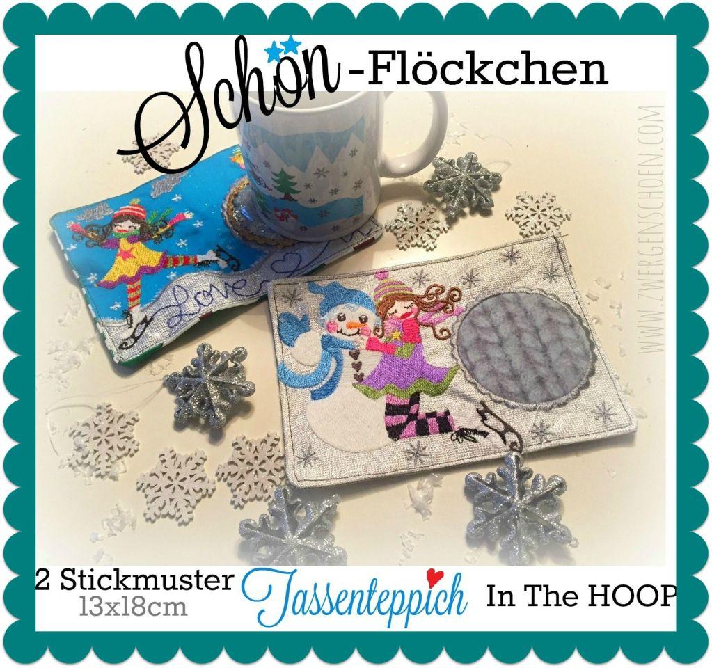 ♥TASSENTEPPICH♥ Schönflöckchen MUG RUG Eisprinzessin ITH