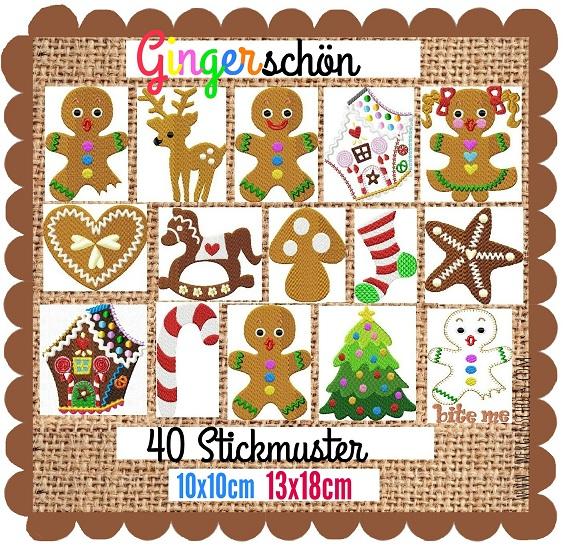 ♥GINGERschön♥ Stickdatei LEBKUCHEN Gingerbread 10x10 13x18cm