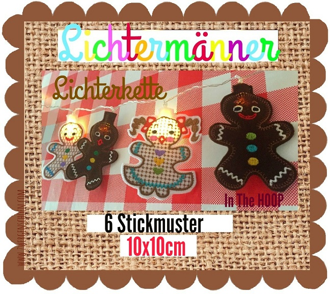 ♥GINGERlights♥ EMBROIDERY FILE Gingerbread ITH 10x10cm