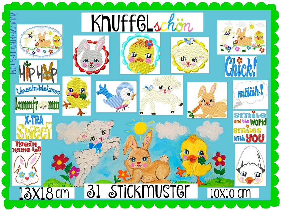 ♥KNUFFELschoen♥ EMBROIDERY File-Set inkl. WORDS 10x10 13x18cm