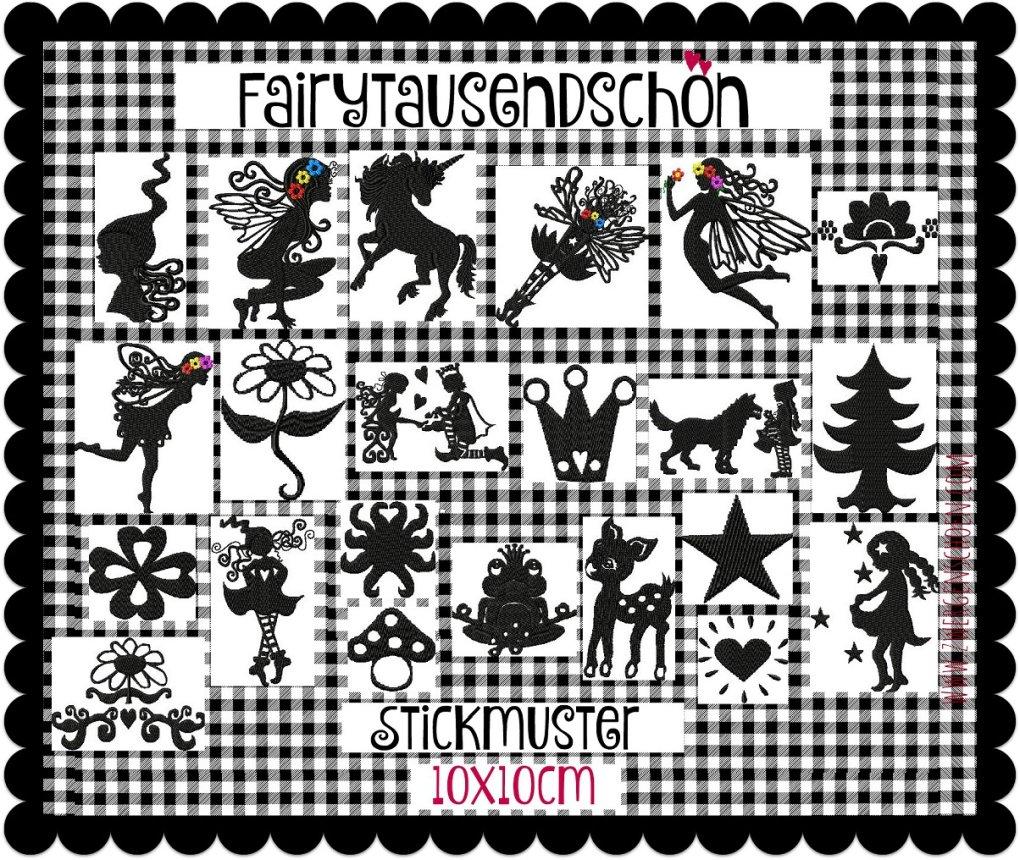 ♥FAIRYtausendSCHÖN♥ Stickdatei SILHOUETTEN Fairy SCHNITTCHEN 10x10cm