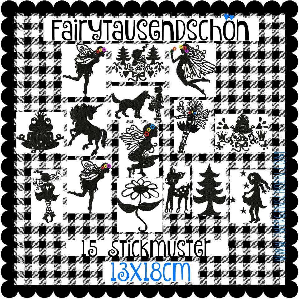 ♥FAIRY SILHOUETTES♥ Embroidery FILE-SET 13x18cm