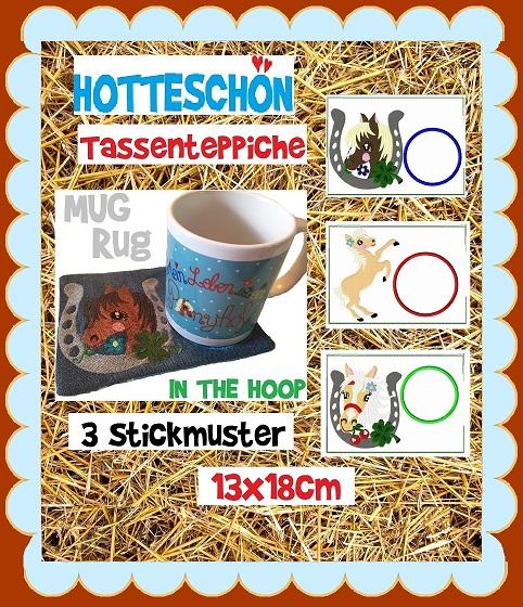 ♥HOTTESCHöN♥ Stickdatei TASSENTEPPICH Mug Rug PONY Pferde 13x18cm