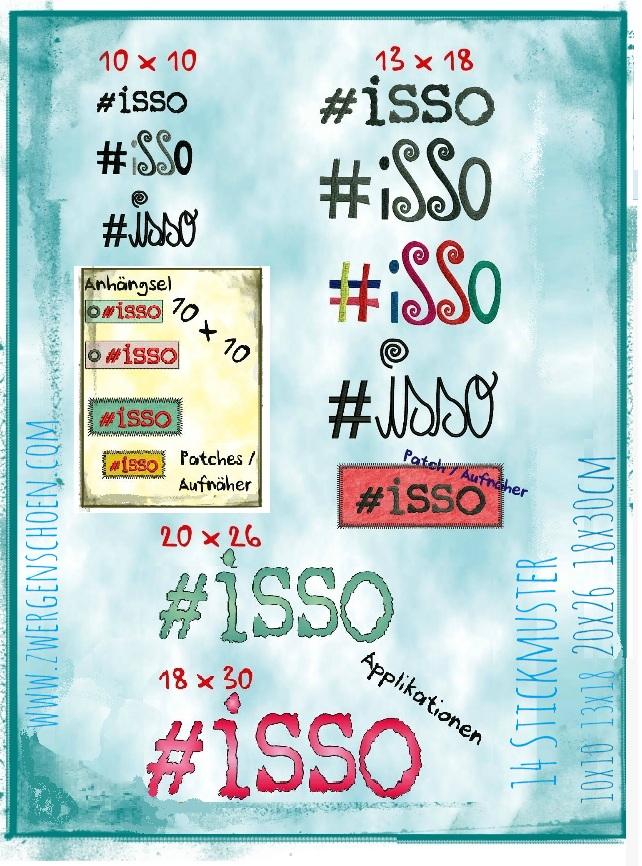 ♥#isso♥ Stickmuster SPEZIAL 10x10 13x18 18x30 20x26cm