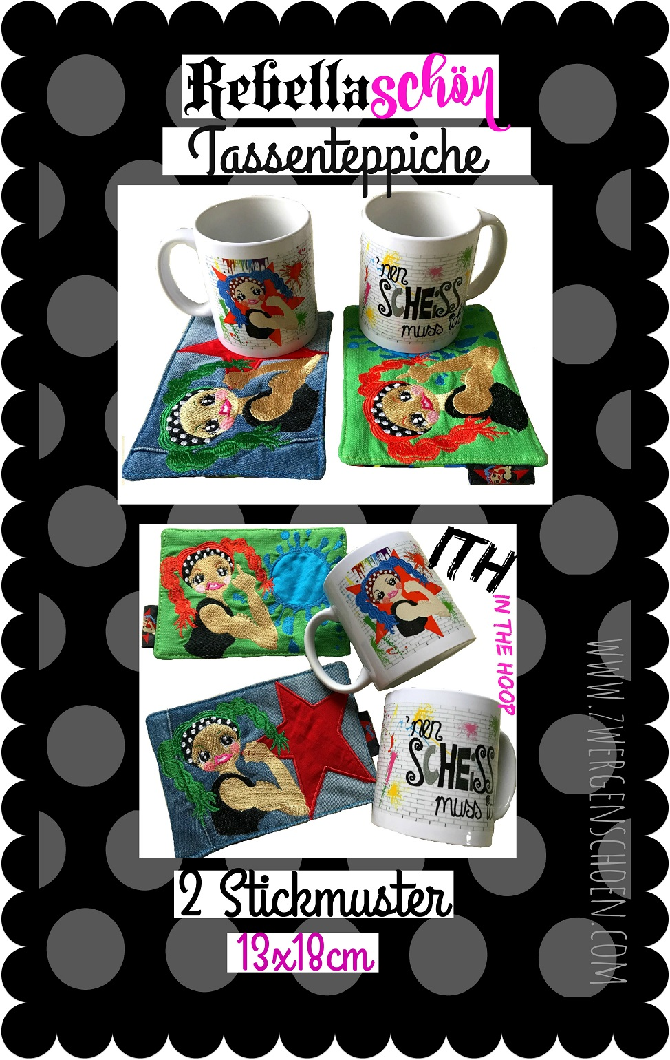 ♥REBELLAschoeN♥ Embroidery FILE-SET Mug Rug ITH 13x18cm We can co it