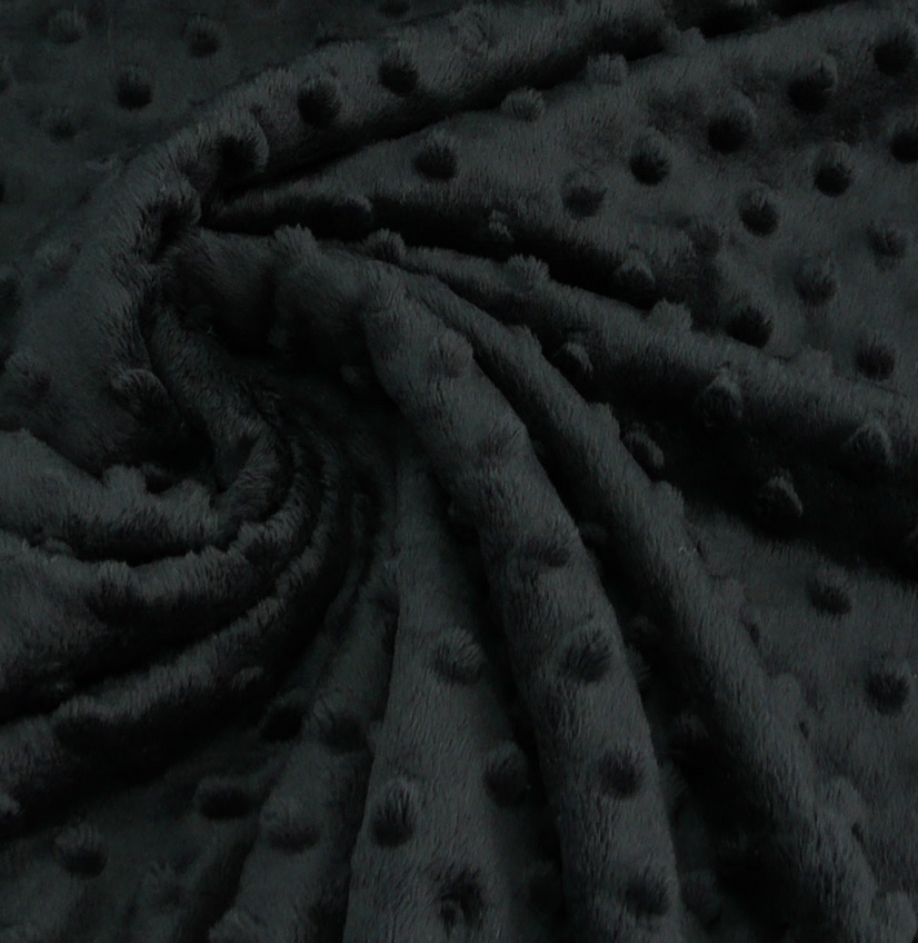 ♥PUNKTE-FLEECE♥ 0.5m MINKY Knubbel BLACK