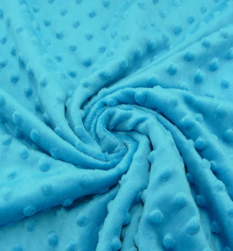 ♥MINKY♥ 0.5m FLEECE 3-D Dots Turquise BLUE