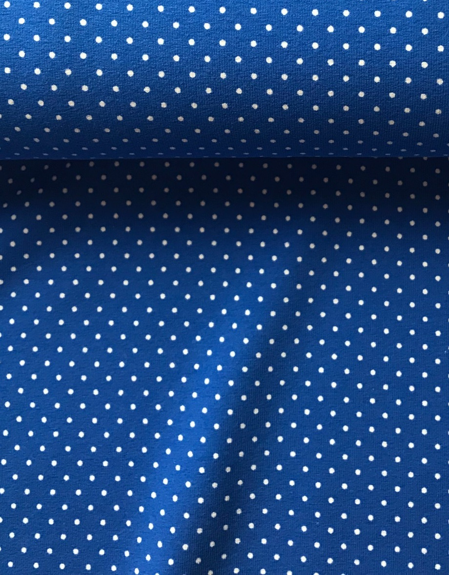 ♥little POLKA DOTS♥ 0.5m Jersey ROYALblue WHITE dots