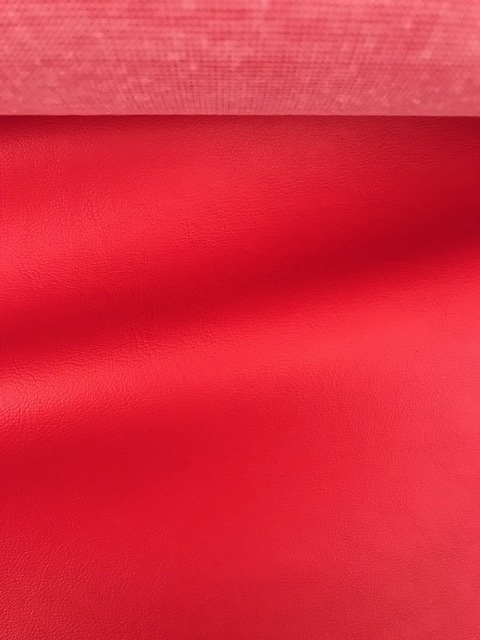 ♥FAKE LEATHER♥ 0.5m RED fine STRAIGHT vegan