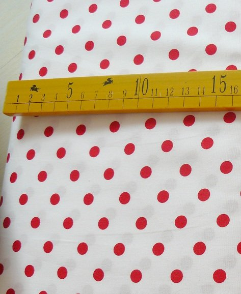 ♥POLKA DOTS♥ COTTON red on white PRICE per 0.5METER