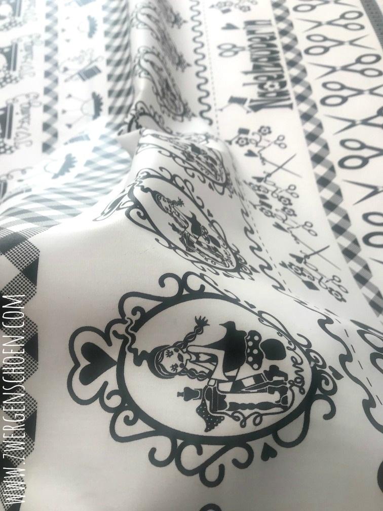 ♥SEW Milli SEW!♥ 0.5m BESCHICHTETE BAUMWOLLE Silhouette SCHNITTCHEN black&white