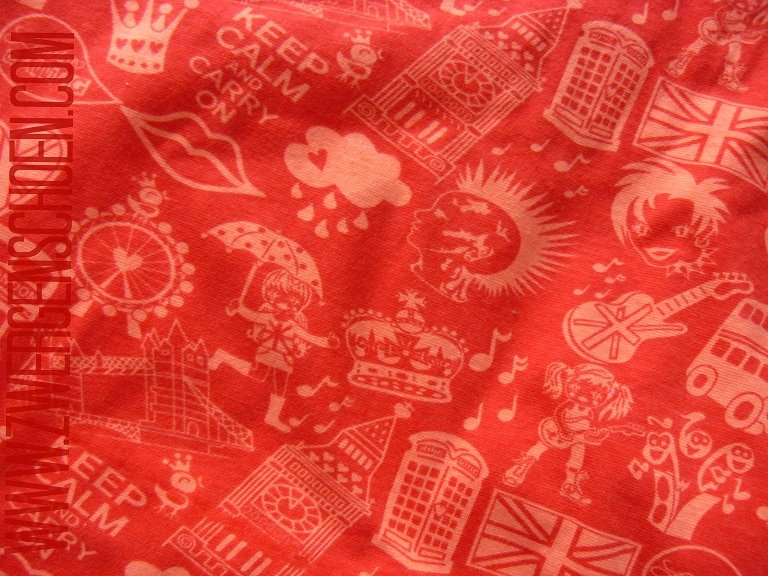 ♥LONDON CALLING♥ 0.5m Jersey ORGANIC Silhouettes RED